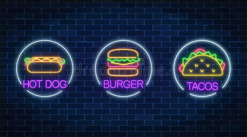 Комплект 3 неоновых накаляя знаков бургера, хот-дога и тако в рамках круга на темной предпосылке кирпичной стены иллюстрация вектора