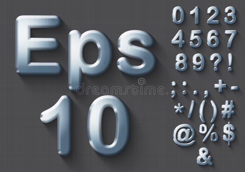 Комплект номеров и символов хрома 3D иллюстрация вектора