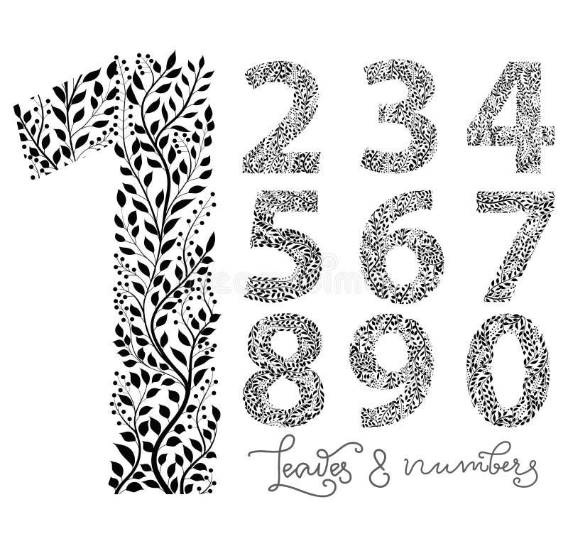 Комплект номеров от одного до 10, сделанный при нарисованная рука выходит иллюстрация штока
