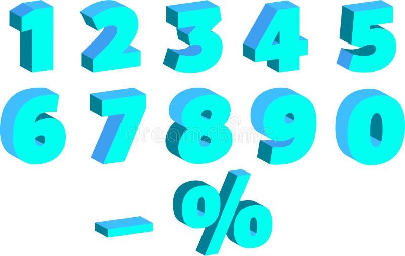 Комплект номеров с влиянием 3 d, для продаж, в голубых тенях стоковые фотографии rf
