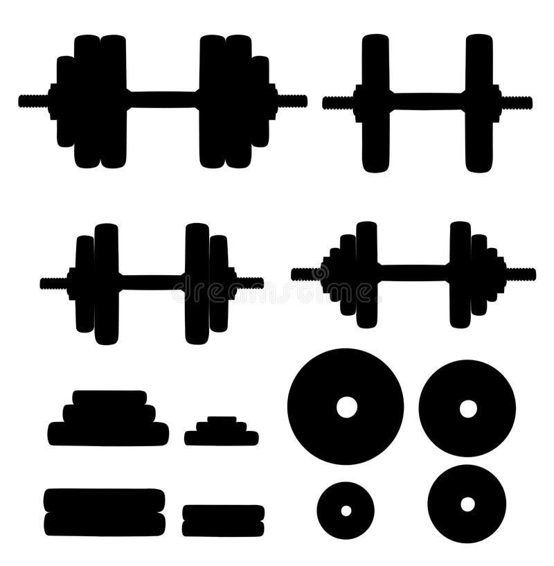 Комплект нормальных и деформированных изогнутых гантелей изолированный на белой прочности тренировки поднятия тяжестей оборудован иллюстрация штока