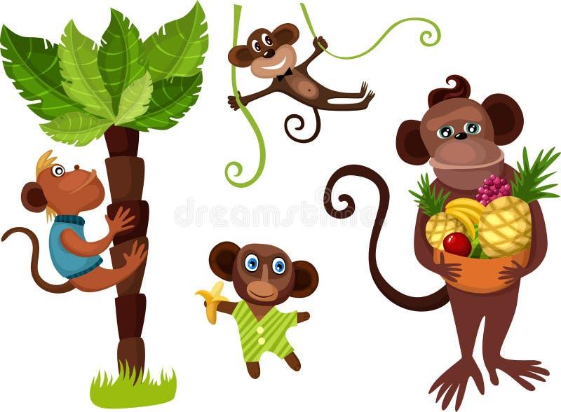 комплект обезьяны иллюстрация штока