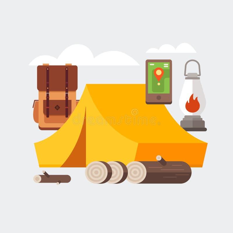 Комплект оборудования для перемещения, воссоздания, приключения Шестерня и аксессуары базового лагеря: шатер, рюкзак перемещения, иллюстрация штока