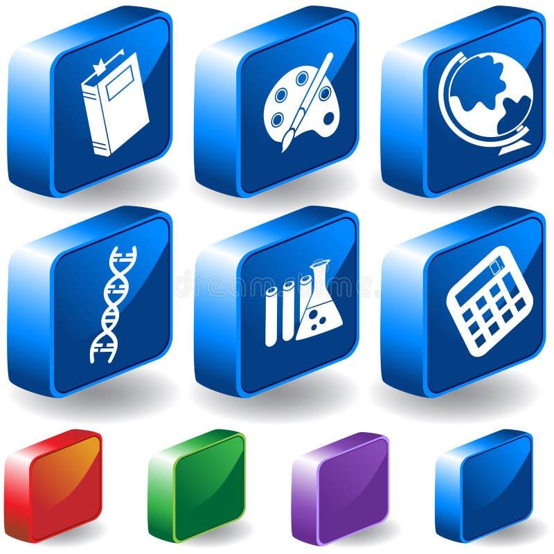 комплект образования кнопки 3d иллюстрация штока