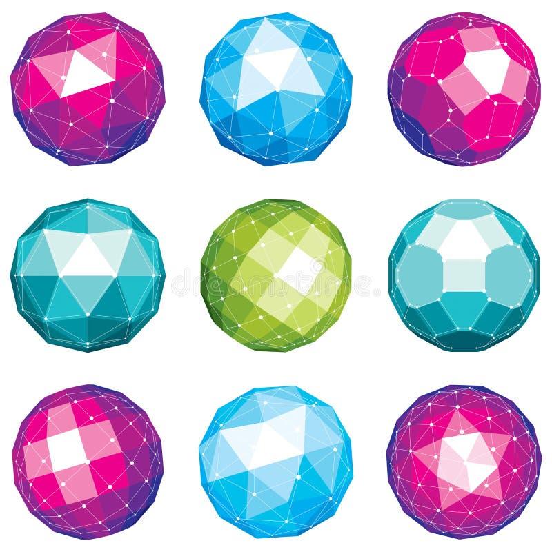 Комплект объектов габаритного wireframe вектора низких поли, сферически бесплатная иллюстрация