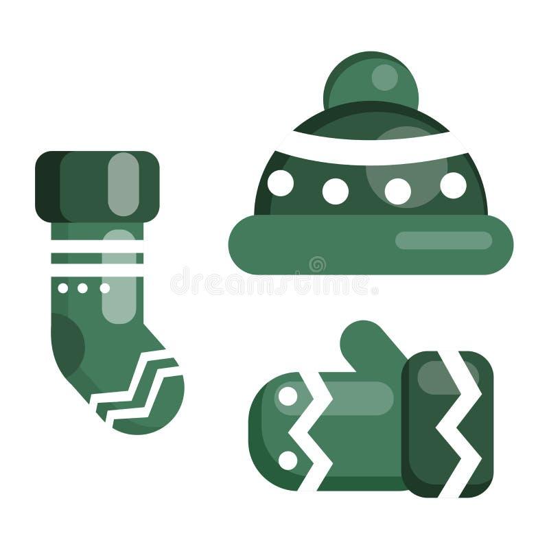 Комплект одежды зимы иллюстрация штока