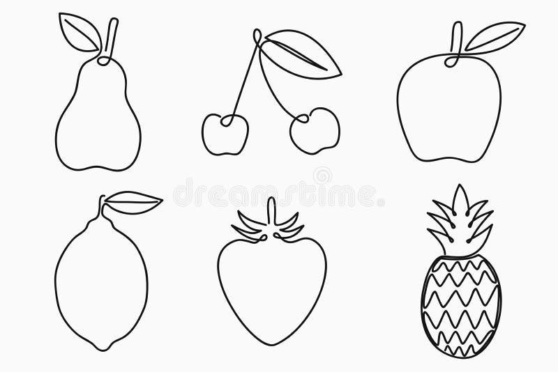 Комплект одной линии плодоовощей чертежа Непрерывная линия плодоовощ - груша, яблоко, вишня, лимон, клубника и ананас бесплатная иллюстрация