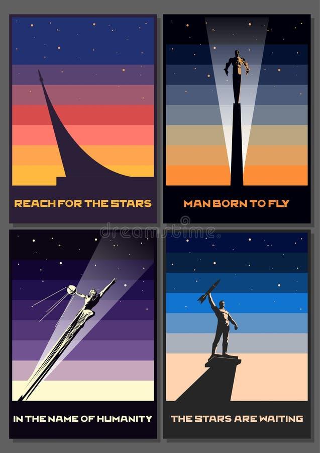 Комплект оригинала плакатов пропаганды космоса стоковое изображение