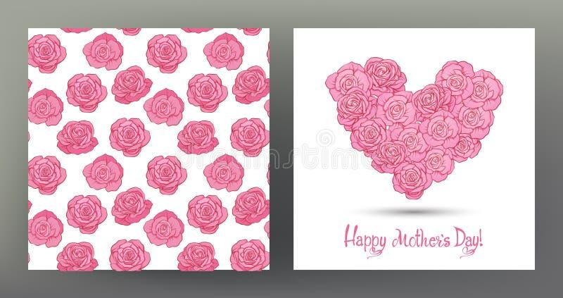 Комплект открытки или знамени на счастливый день ` s матери с сердцем влюбленности бесплатная иллюстрация