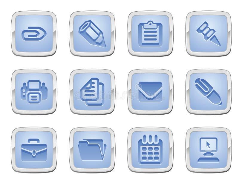 комплект офиса иконы дела иллюстрация вектора