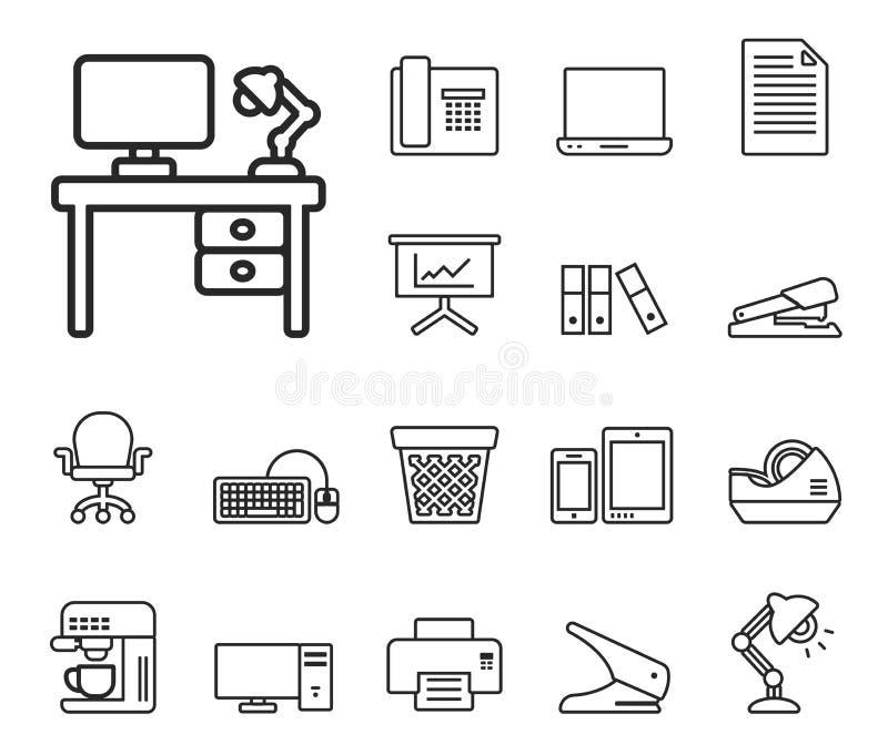 комплект офиса иконы скоросшивателей вспомогательного оборудования иллюстрация вектора