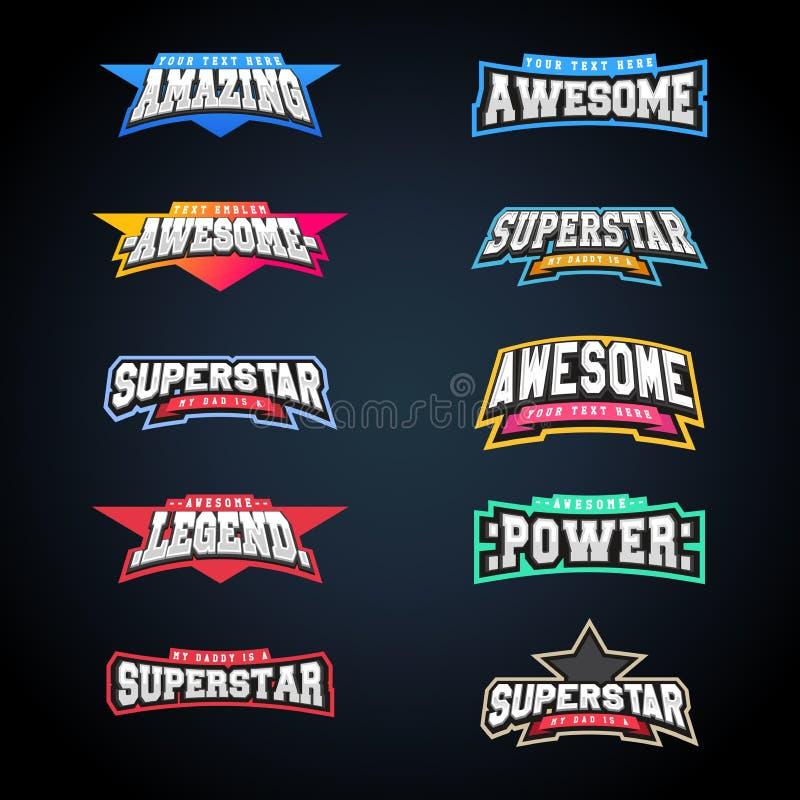 Комплект оформления эмблемы спорта Супер логотип для вашей футболки Мега собрание логотипа иллюстрация вектора