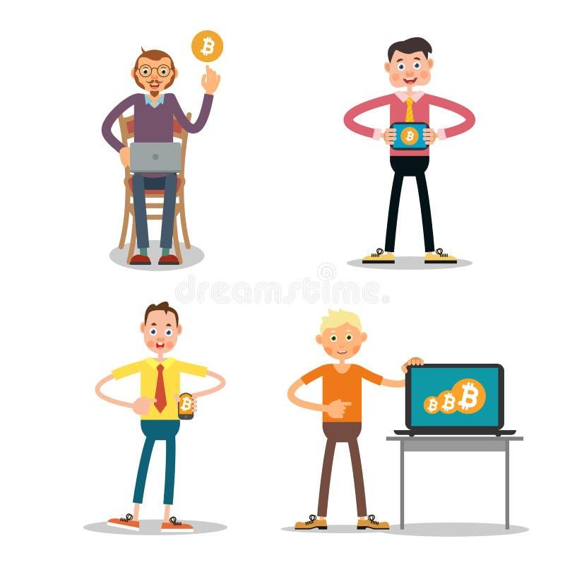 Комплект парней которые продают bitcoin иллюстрация вектора
