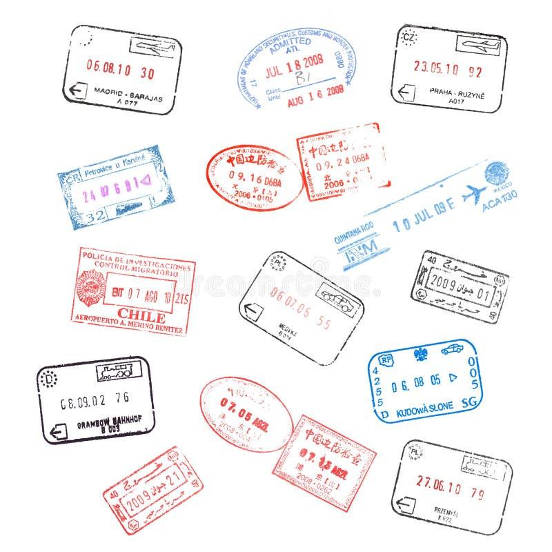 комплект пасспорта штемпелюет визу иллюстрация штока