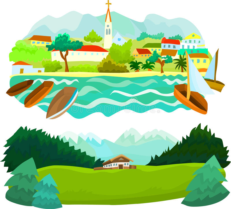 комплект пейзажа 01 иллюстрация штока