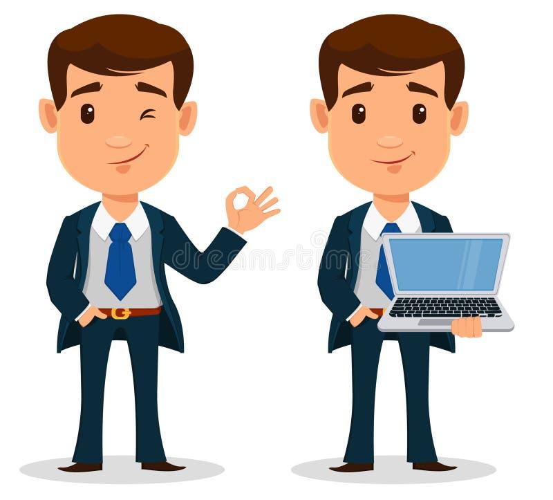 Комплект персонажа из мультфильма в умных одеждах, стиля бизнесмена офиса бесплатная иллюстрация