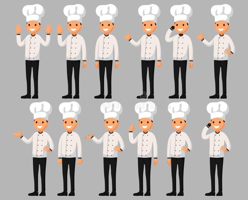 Комплект персонажа из мультфильма шеф-повара в различных представлениях Иллюстрация вектора в плоском стиле иллюстрация вектора