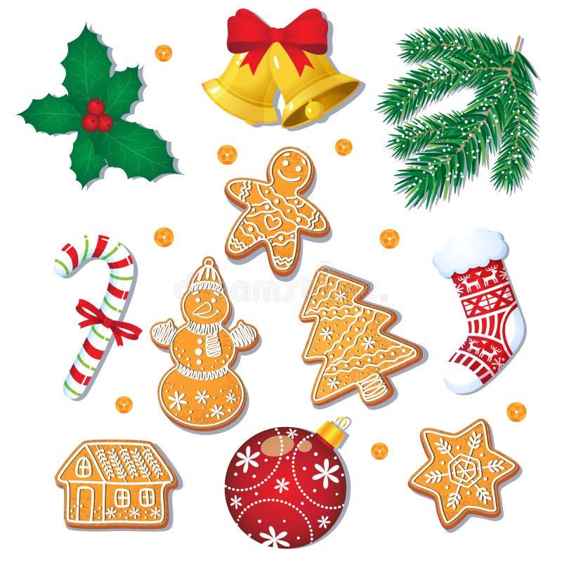 Комплект печений пряника рождества, украшений иллюстрация вектора