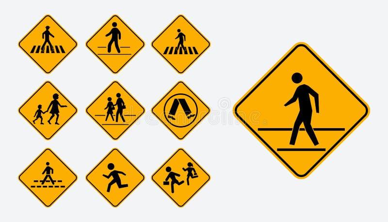 Комплект пешеходного знака прогулки r бесплатная иллюстрация