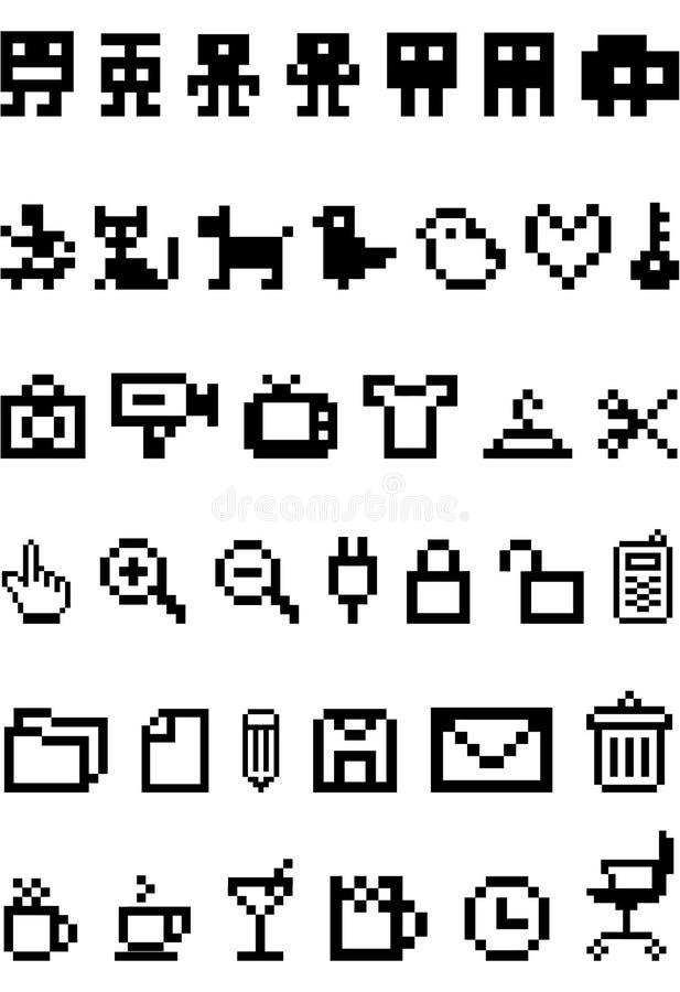 комплект пиксела иконы иллюстрация вектора
