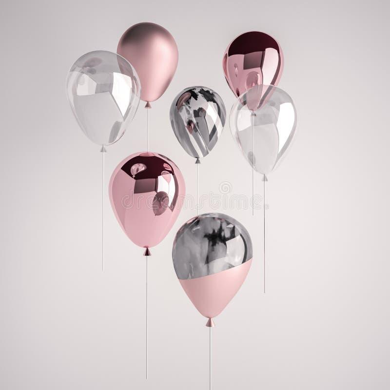 Комплект пинка лоснистых и сатинировки, прозрачных, черно-белых воздушных шаров на ручке для партии, событий мрамора 3D реалистич иллюстрация вектора