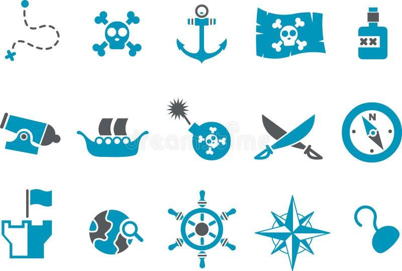 комплект пирата иконы иллюстрация вектора