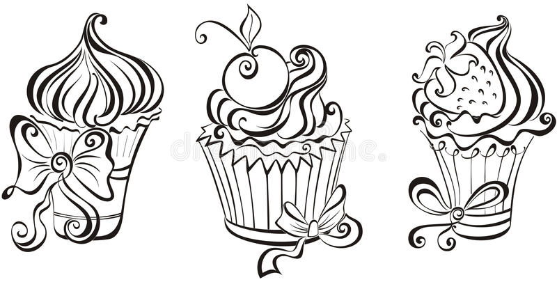 Комплект пирожных бесплатная иллюстрация