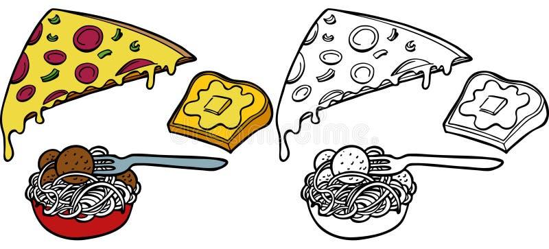 комплект пиццы макаронных изделия чеснока хлеба иллюстрация вектора