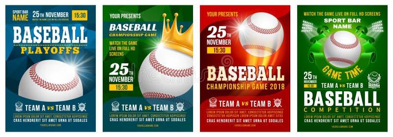 Комплект плаката бейсбола иллюстрация штока