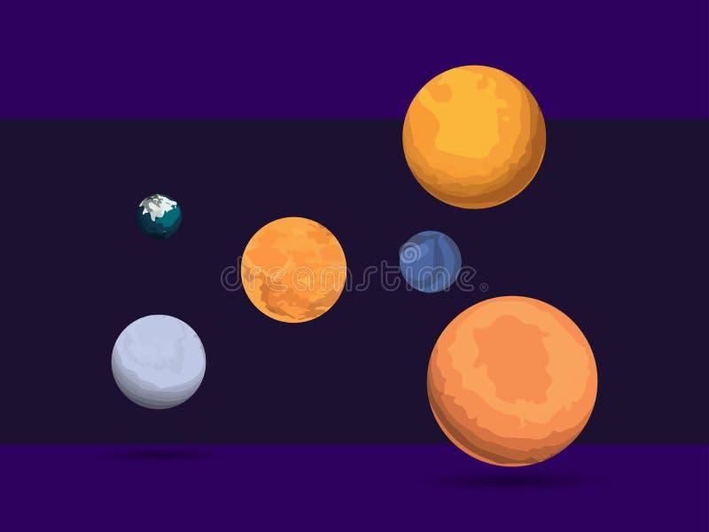 Комплект планеты конспект против космоса портрета предпосылок женского наружного Глубокий космос, созвездия Гиганты космоса векто иллюстрация штока