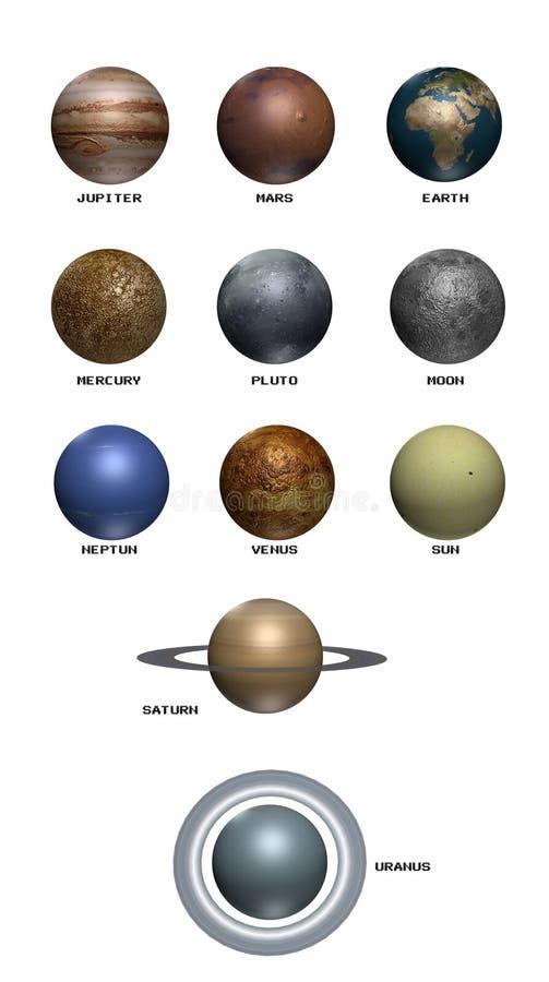 комплект планеты 3d иллюстрация вектора