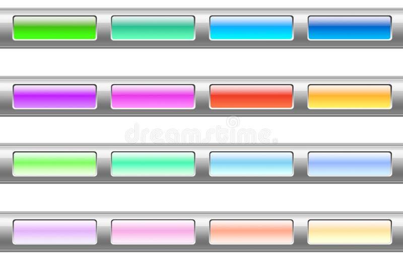 комплект пластмассы цвета кнопок иллюстрация вектора