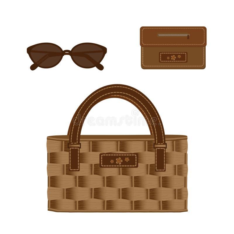 Комплект плетеной сумки украшенный с линией и цветками, элегантными солнечными очками и функциональным кожаным портмонем Установи бесплатная иллюстрация