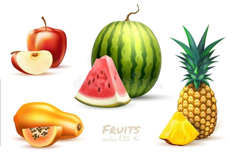Комплект плодоовощ яблока арбуза папапайи ананаса экзотический иллюстрация вектора