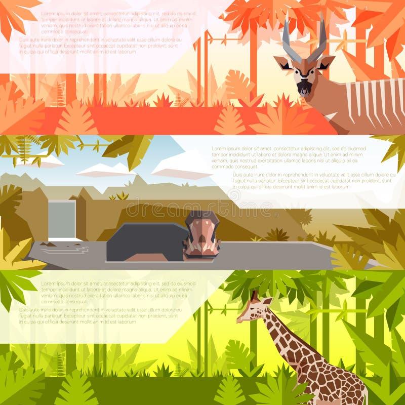 Комплект плоских знамен с африканскими животными иллюстрация штока