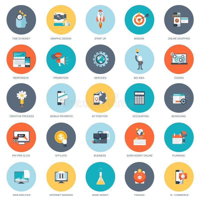 Комплект плоских значков дизайна для дела, оплаты согласно с щелчок, творческий процесс, ища, анализ сети, время деньги иллюстрация штока