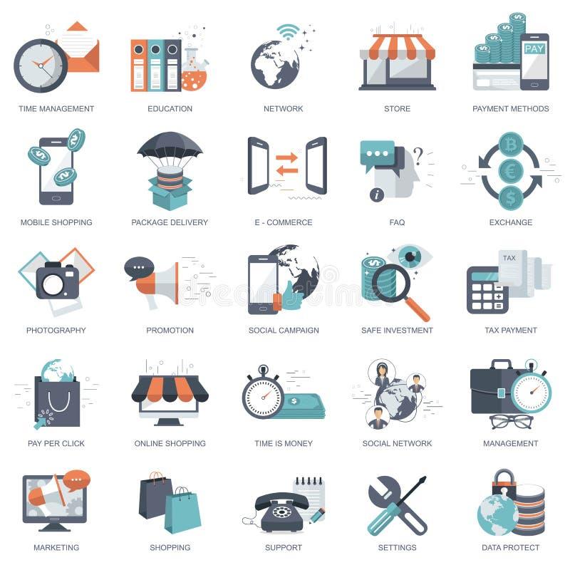 Комплект плоских значков дизайна для дела, оплаты согласно с щелчок, творческий процесс, ища, анализ сети, время деньги, на линии иллюстрация штока