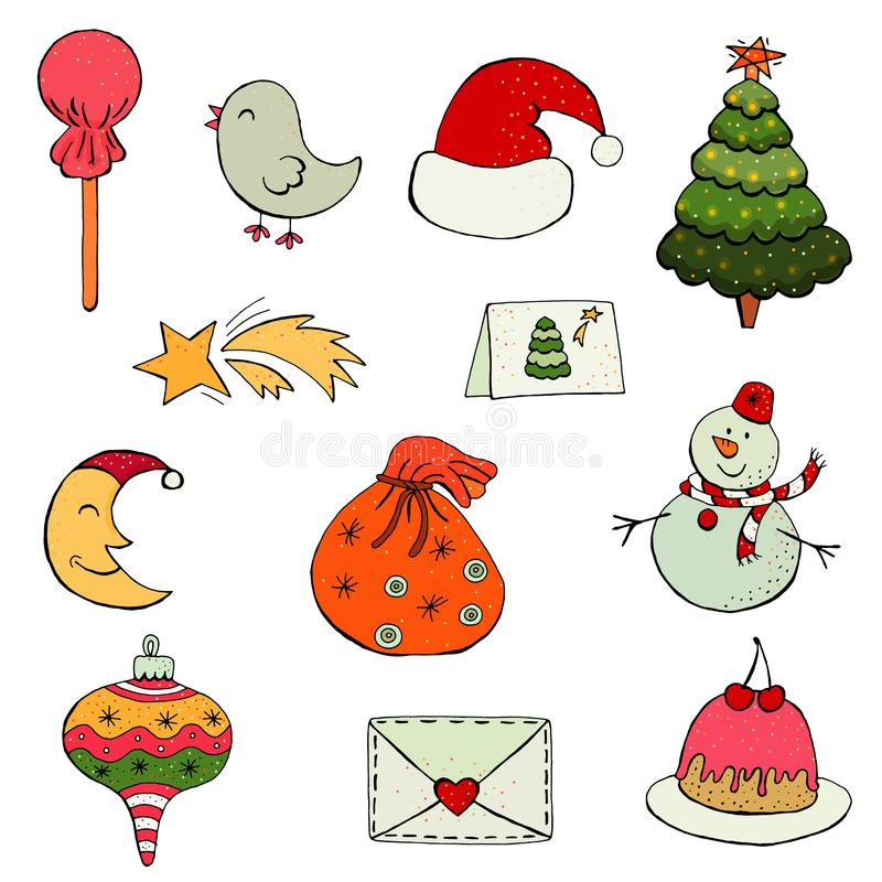 Комплект плоских значков рождества и Нового Года дизайна иллюстрация вектора