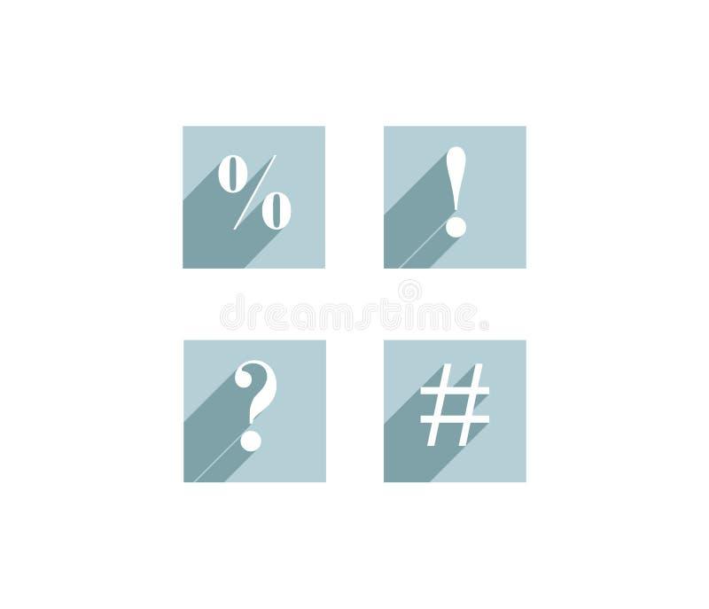 Комплект плоских значков с возгласом и вопросительными знаками, процентом s иллюстрация штока