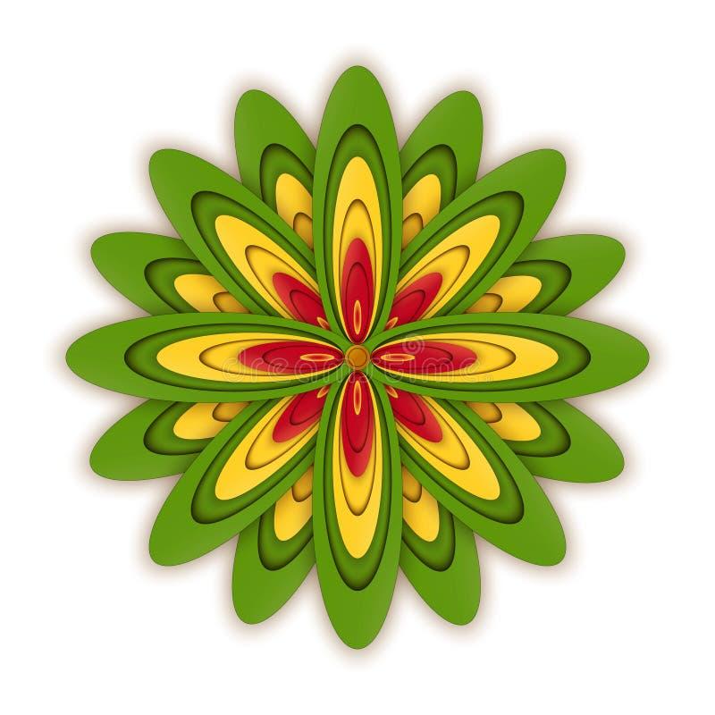 Комплект плоских значков цветка значка в силуэте изолированном на белизне Милый ретро дизайн в ярких цветах для стикеров, ярлыков иллюстрация вектора