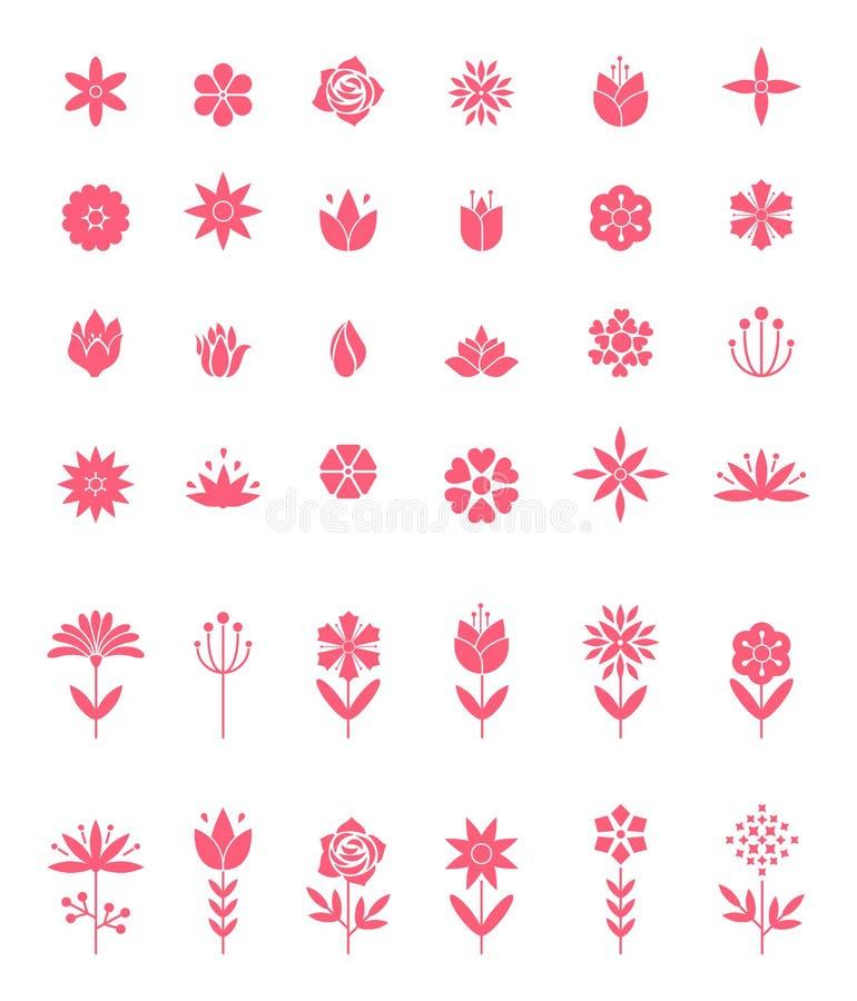 Комплект плоских значков цветка значка в силуэте изолированном на белизне бесплатная иллюстрация