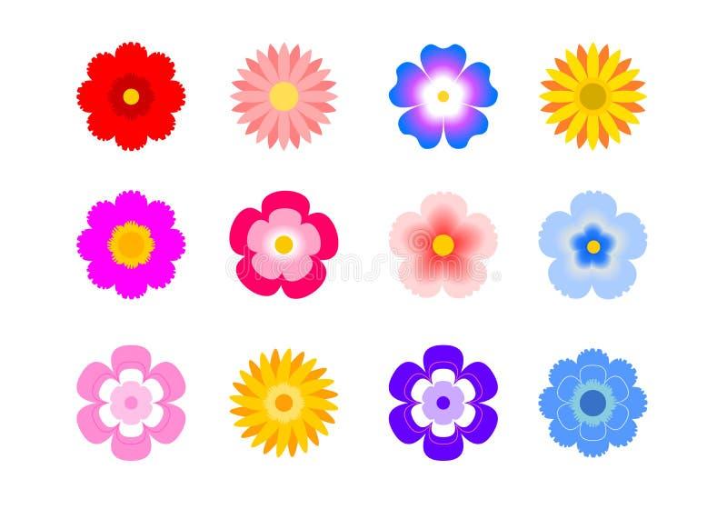 Комплект плоских значков цветка значка в силуэте изолированном на белизне для стикеров, ярлыки, бирки, упаковочная бумага подарка бесплатная иллюстрация
