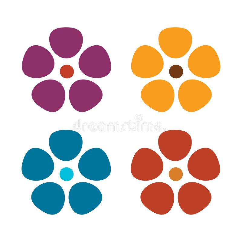 Комплект плоских значков цветка Иллюстрация вектора изолированная на белой предпосылке ретро дизайн в ярких цветах для стикеров,  иллюстрация вектора