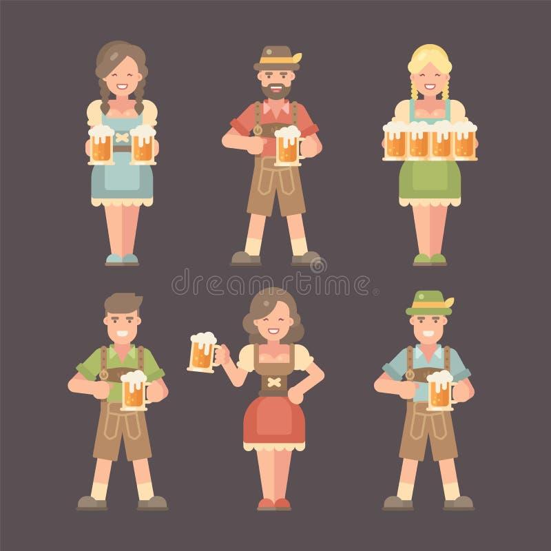 Комплект плоских характеров Oktoberfest на темной предпосылке иллюстрация штока