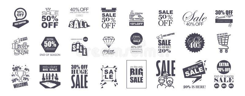 Комплект плоских шаблонов стикеров продажи дизайна иллюстрация штока