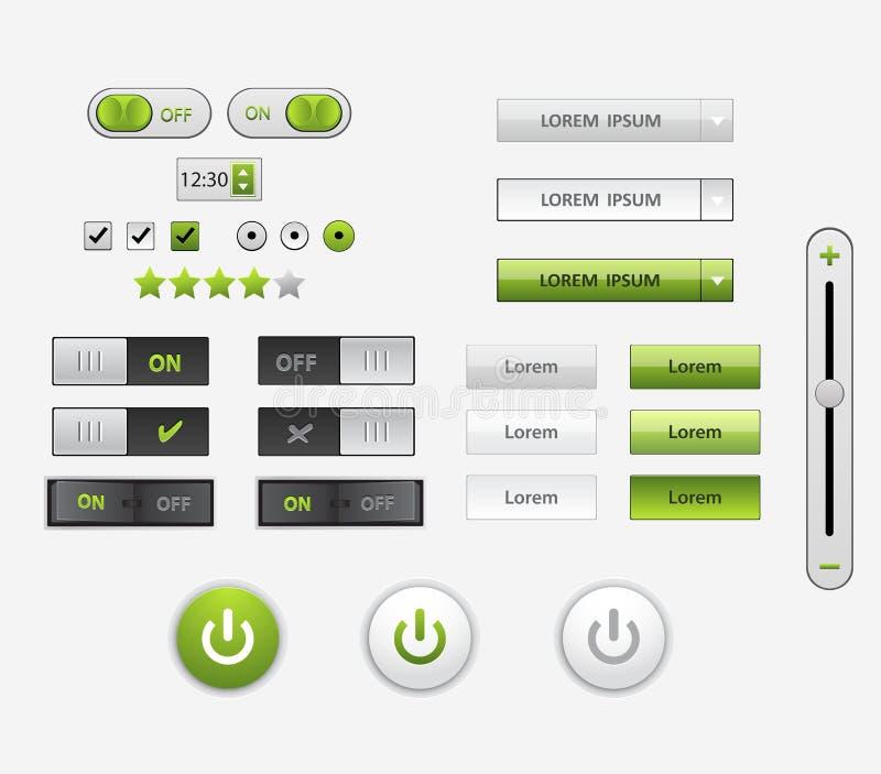 Комплект плоского дизайна UI и элементы UX для вебсайта и передвижного app конструируют иллюстрация штока