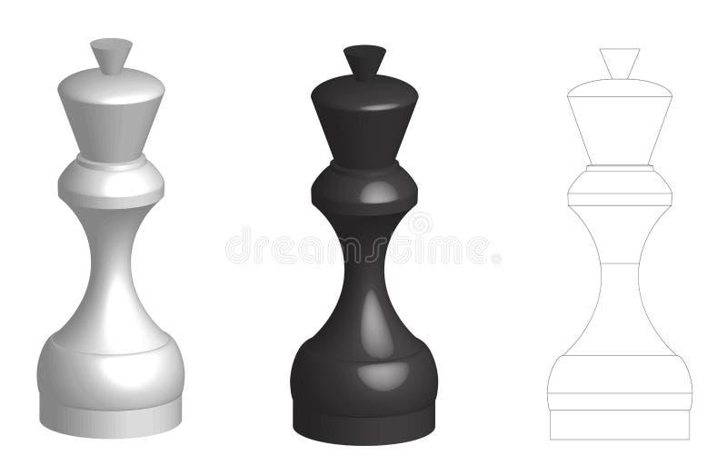 Комплект плоского силуэта и 2 ферзей шахмат тома 3d соединяет бесплатная иллюстрация