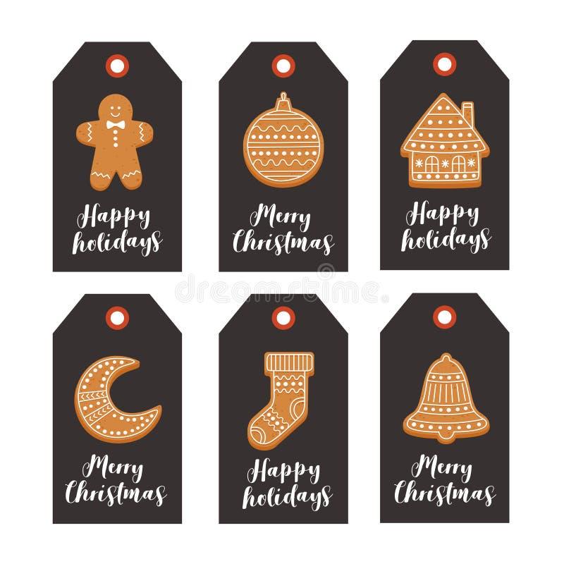 Комплект подарка рождества маркирует с пряником рождества и праздничными желаниями на черной предпосылке иллюстрация вектора