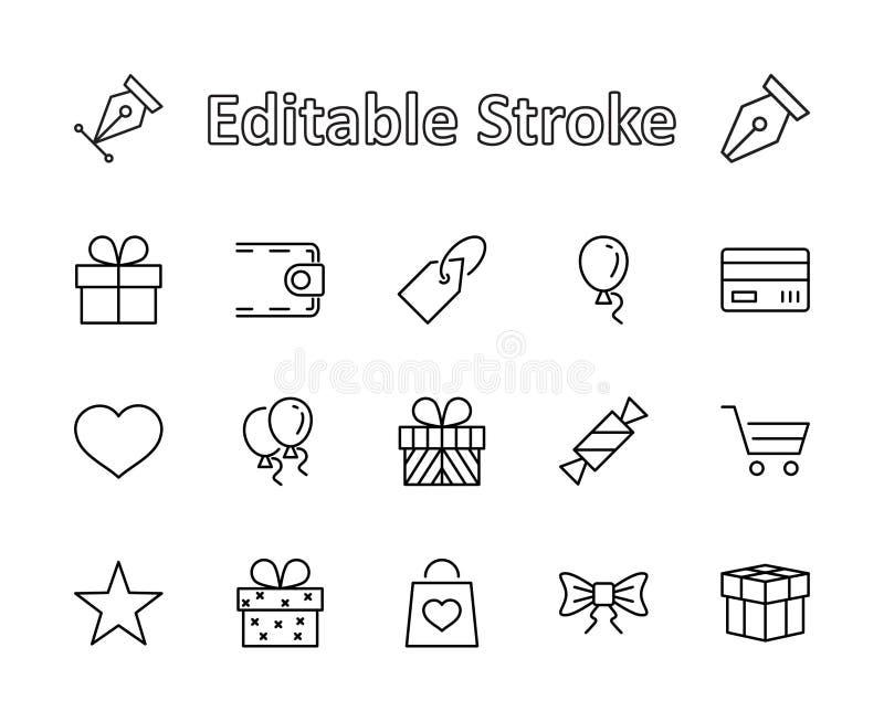 Комплект подарков, линия значки вектора Содержит карточки, ленты и больше подарка символов Editable ход пиксел 32x32 иллюстрация вектора