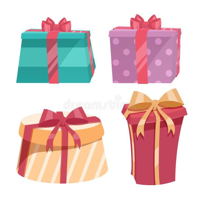 Комплект подарочной коробки ультрамодного дизайна шаржа винтажный круглый с лентами и смычками других цветов Значок вектора дня р бесплатная иллюстрация
